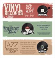 Vinylaufzeichnungsgeschäft Retro- grunge Fahne