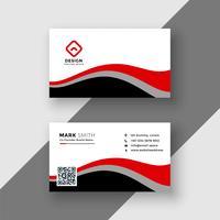 diseño abstracto rojo ondulado tarjeta de visita