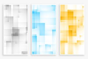 abstract geometric square and rectangle pattern banners