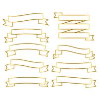 goldene Linie Bänder Banner gesetzt