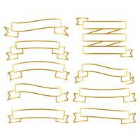 ensemble de bannière de rubans de ligne dorée