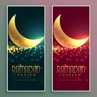 gyllene glänsande magiska måne ramadan kareem banner