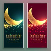 golden shiny magical moon ramadan kareem banner