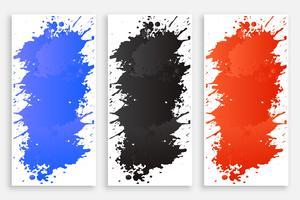 abstracte inktkleur splash banners set