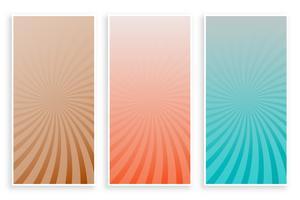 couleurs abstraites rayons sunburst bannières ensemble