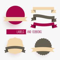 empty ribbons and labels design elements set