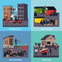 Conjunto de iconos de barrio pobre de ghetto
