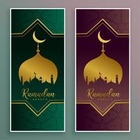 Ramadán kareem lujoso diseño de banner de oro