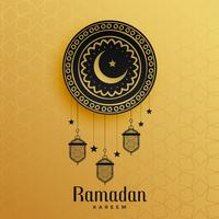 islamic style golden ramadan kareem greeting design