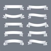 raccolta di banner di nastri bianchi