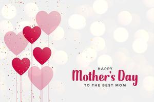 lycklig mors dag bakgrund med hjärta ballonger