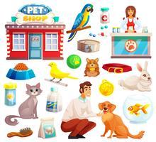 Conjunto de iconos decorativos de la tienda de mascotas