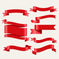shiny red classic ribbons in 3d style