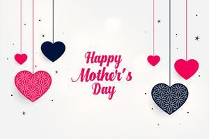härlig mors dag hälsning med hängande hjärtan