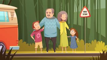 Grandparents And Grandchildren Cartoon Composition