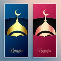 ramadan kareem mosque design banner set