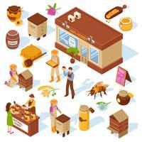 honung gård isometriska ikoner uppsättning