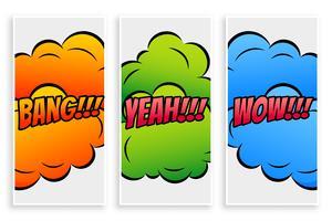 banner di testo comico in diverse espressioni