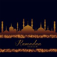 fundo islâmico de ramadan kareem com decoração de luzes