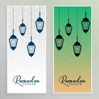 Arabische lampen opknoping ramadan kareem banner