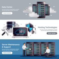 Conjunto de banner horizontal do datacenter