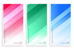 set di banner di linee eleganti colori lucidi