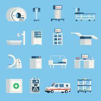 Orthogonale flache Ikonen der Krankenhausausrüstung
