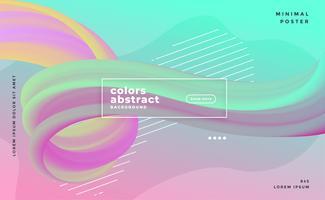 cartaz de fluxo líquido de onda abstrata de cores pastel