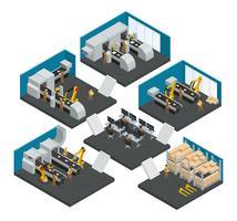 Fábrica de electrónica composición isométrica de varios pisos