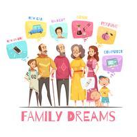 Famiglia che sogna il concetto di design