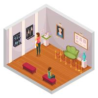 Museum Exhibition Isometric Composition  vector
