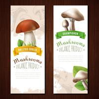 Bannières verticales aux champignons biologiques
