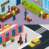 Hotel Service Isometric Banner Set