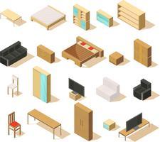 Conjunto de elementos isométricos de muebles