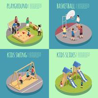 Children Playground Isometric Compositions