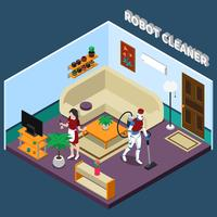 Robot Housewife And Cleaner Professions vector