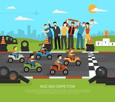 Sfondo di bambini di corse automobilistiche