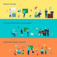 School Teacher Flat Banners Set