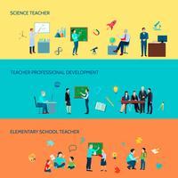 School Teacher Flat Banners Set