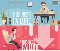 Carteles de dibujos animados retro fracaso empresarial 2