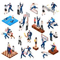 Competitions Of Business Characters Isometric Set