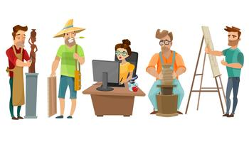 Artistes Freelance Creative People Cartoon Set