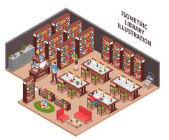 Bibliotekets isometrisk illustration