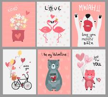 collection of pink love card flat vector