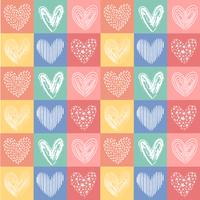 vector hand drawn heart line vintage color pattern seamless