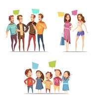 Familien-Retro- Karikatur-Set