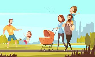 Family Outdoor  Retro Cartoon Illustration