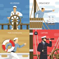 Ship Crew 4 Icons Concept  vector