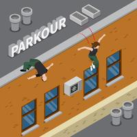Parkour isometrisk illustration