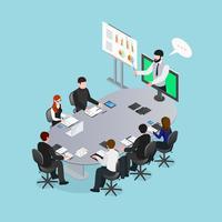 Illustrazione isometrica di conferenza online